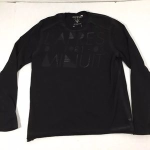 Men's Guess Graphic Long Sleeve Shirt Black L